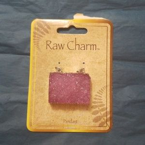 Jewelry - Raw stone druzy rose quartz pendant.